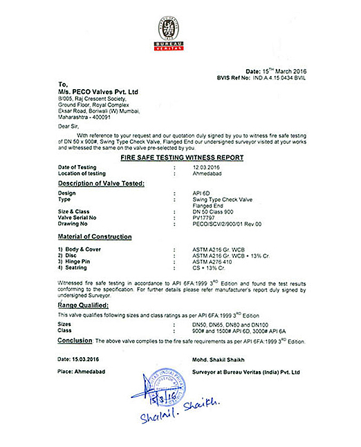 Fire Safe Test Certificate - 8 | PECO Valves Private Limited
